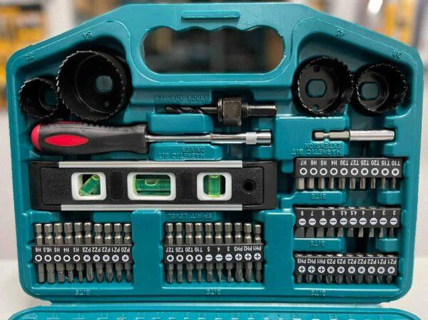 סט ביטים 101 חלקים מבית מקיטה מגיע במזוודה קשיחה עם המון מוצרים נילווים כוסות ביטים מקדחים מובילים ועוד מגוון רחב של MAKITA