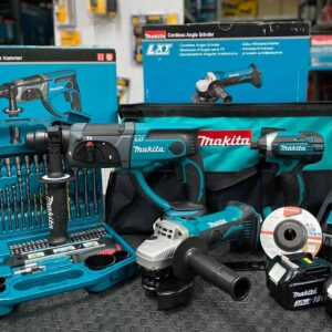 סט כלים 3 חלקים Makita מקיטה מברגה/פטישון/משחזת זווית (DTD152+DGA452+DHR202) הכולל סוללות ומטען בתיק נשיאה מבד קשיח מחיר