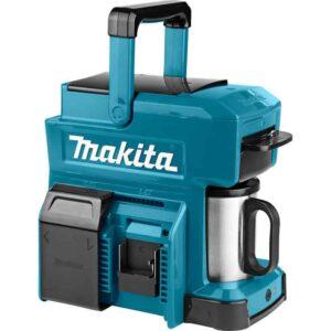 מכונת קפה 12/14.4/18V DCM501 P1 Makita עובד על כלל הסוללות נטען מיועד לעבודה אינטנסיבית. אין צורך במסנני נייר רק קפה טחון או פדים