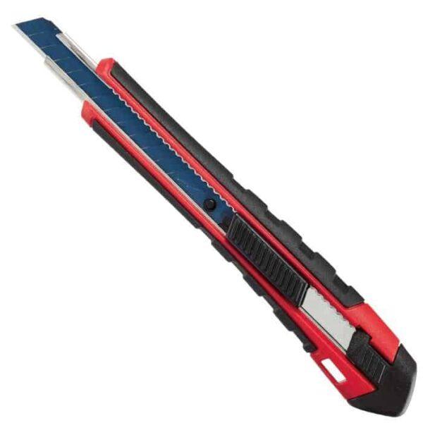 """סכין יפנית מבית MILWAUKEE דגם 9מ""""מ עם קפיץ דגם חזק במיוחד עם ציפוי גומי קשיח מסביב לסכין מילווקי עם תלישה קלה"""