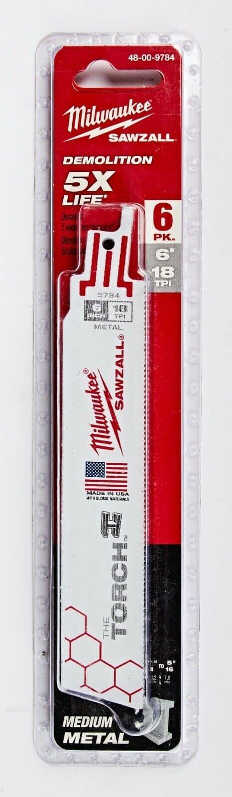 חבילת להבים מבית מילווקי MILWAUKEE מסדרת THE TORCH 48-00-9784 דגם חזק במיוחד פי 5 יותר בארוך החיים ייעודי לעבודה ממושכת מסוריות