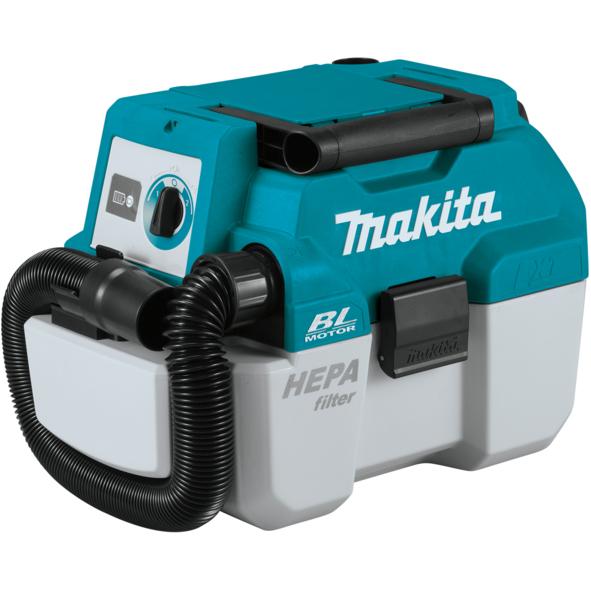 שואב אבק יבש / רטוב מבית Makita דגם BL DVC750 דגם חזק במיוחד לעבודה ממושכת ללא פחמים נטען עם טכנוגלית HEPA של הפילטר מבית מקיטה